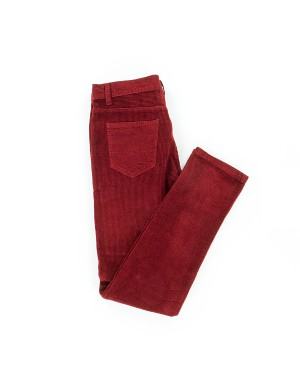 Pantalon Velours Rouge Grenat
