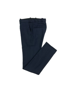 _Night Blue Cotton and Linen Slim-Fit Trousers
