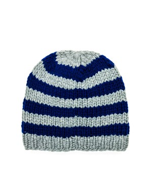 Neville Grey and Blue Striped Beanie