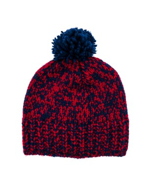 Luca Red and Navy Mélange Bobble Hat