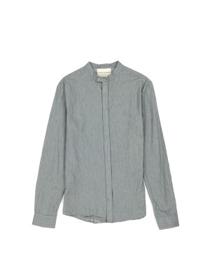 _Grey Houndstooth Banded Collar Shirt
