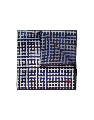 Pocket Square Checker - Navy