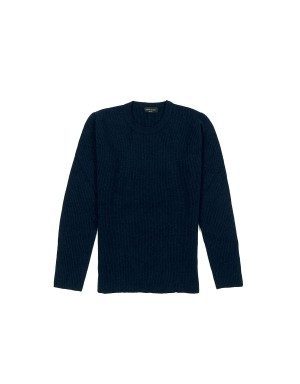 Navy Ribbed Cashmere Sweater