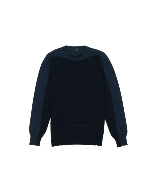 Navy Tone on Tone Merinos Sweater