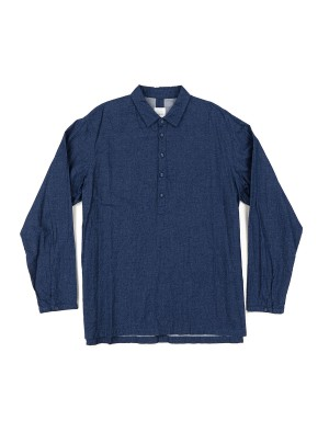 _Indigo Brushed Cotton Popover Shirt