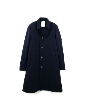 Night Blue Wool and Faux Fur Coat