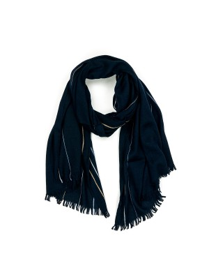 Navy Stiped Wool Scarf