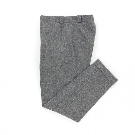 Wool & Cotton Pleated Grey Trousers