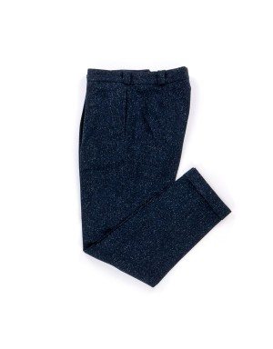 Donegal Wool & Cotton Pleated Navy Trousers