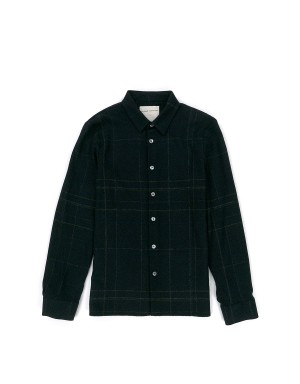 Black Check Pattern Wool Shirt