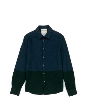 Blue and Black Brushed Cotton Shirt