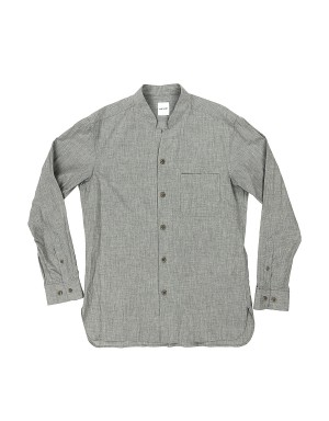 Grey Collarless Shirt