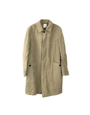 Beige Cotton and Linen Coat