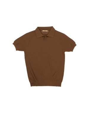 Tobacco Honeycomb Knit Polo Shirt