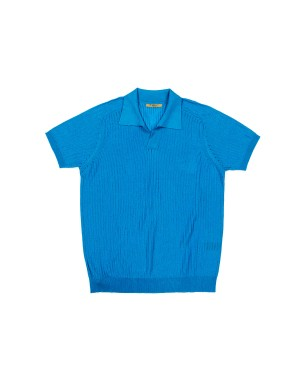 Cyan Sheer Ribbed Polo Shirt