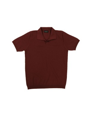 Rust Cotton Piquet Knit Polo Shirt