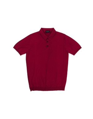 Red Cotton Crepe Polo Shirt