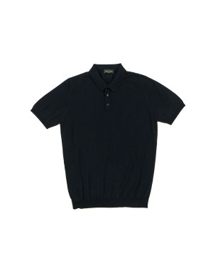 Navy Cotton Crepe Polo Shirt