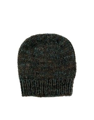 Bronw and blue Melange Beanie