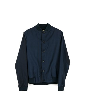 Night Blue Wool Bomber Jacket