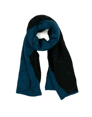 Blue and Navy Wool Blend Scarf