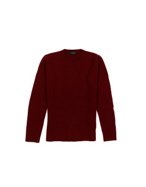Red Ribbed Cashmere Sweater
