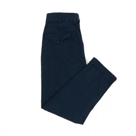 Navy Cotton Pleated Trousers