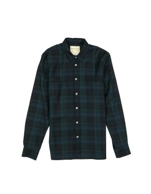 Green and Navy Checked Wool Shirt