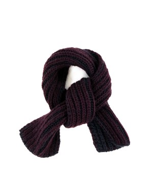 Burgundy and Grey Wool Scarf