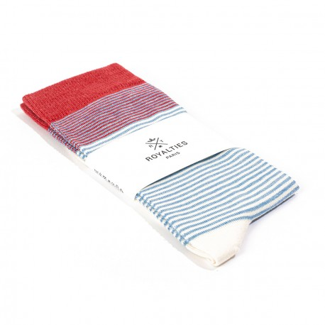 Breton Sock Azur and Red
