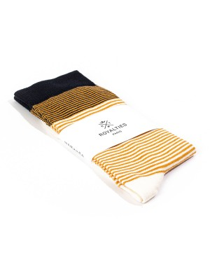 Breton Socks Ochre and Navy