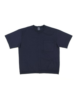 Panelled Navy Cotton T-Shirt