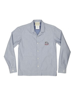 Blue Cotton and Wool Shirt