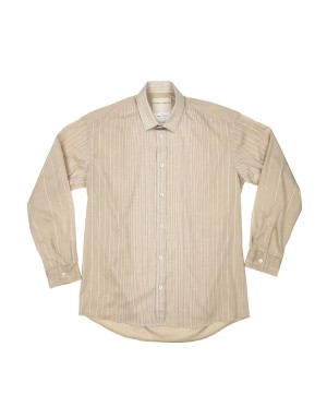 Beige Striped Cotton Shirt