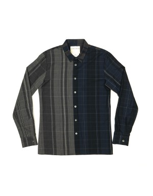Navy and Taupe Checked Cotton Shirt