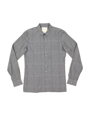 Navy Checked Modal and Cotton Shirt
