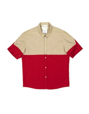 Beige and Red Short Sleeves Shirt