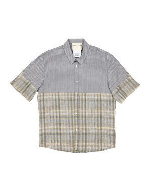Blue and Beige Checked Short Sleeves Shirt