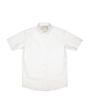 White Cotton Short Sleeves Shirt