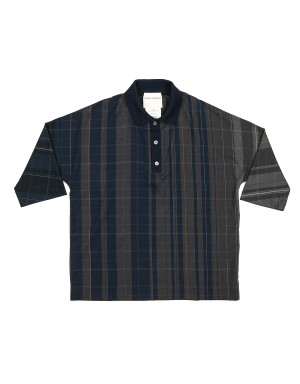 Blue and Grey Checked Cotton Polo Shirt