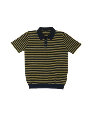 Navy Khaki Beige Striped Knit Polo Shirt