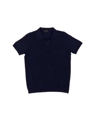 Navy Cotton Knit Polo Shirt