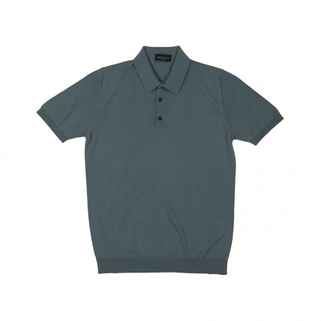 Grey Cotton Knit Polo Shirt