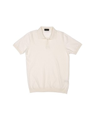 Ecru Cotton Knit Polo Shirt
