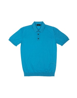 Teal Cotton Knit Polo Shirt