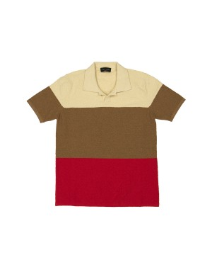 Beige Brown Red Fleece polo Shirt