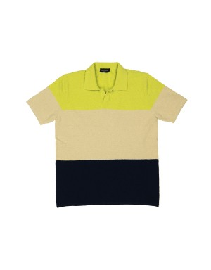 Navy beige Green Fleece Polo Shirt