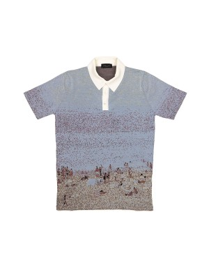 Beach Pattern Cotton Knit Polo Shirt