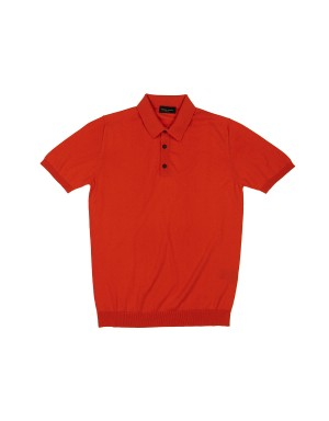 Orange Cotton Knit Polo Shirt
