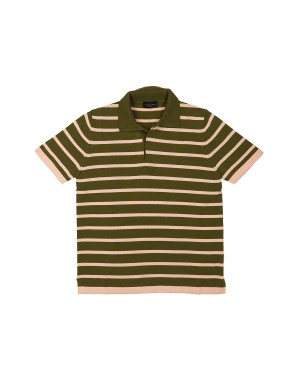 Khaki and Pink Cotton Knit Polo Shirt